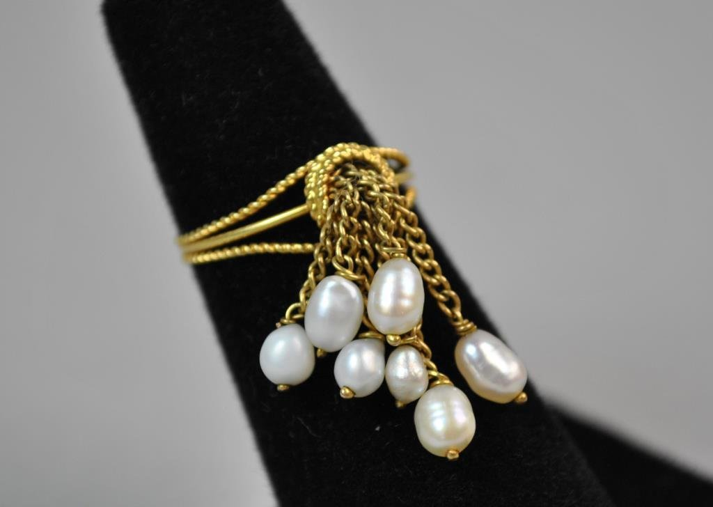 GOLD & SEED PEARL TASSEL RING