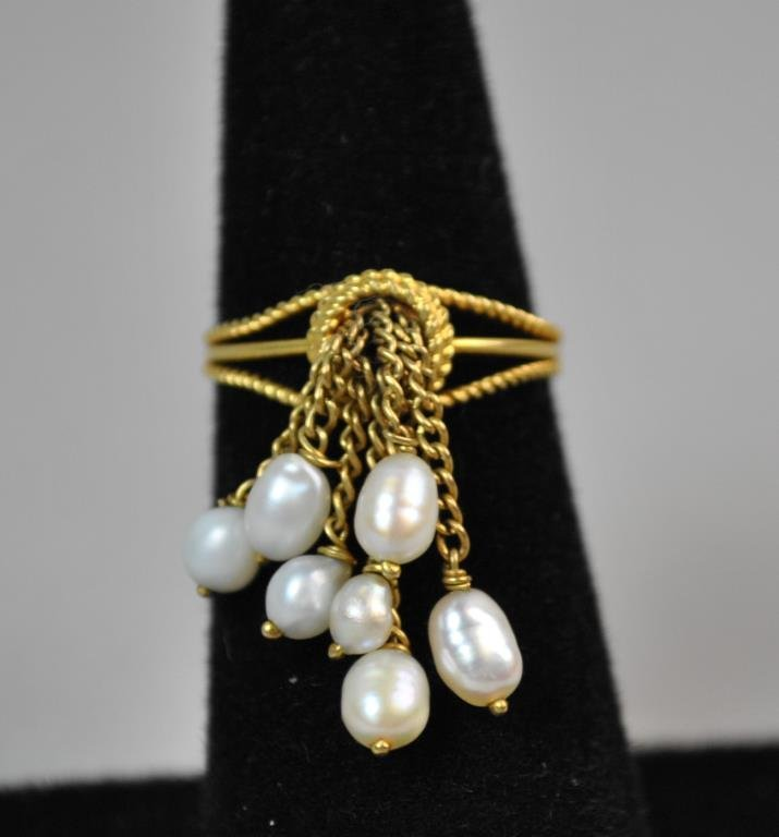 GOLD & SEED PEARL TASSEL RING - 2