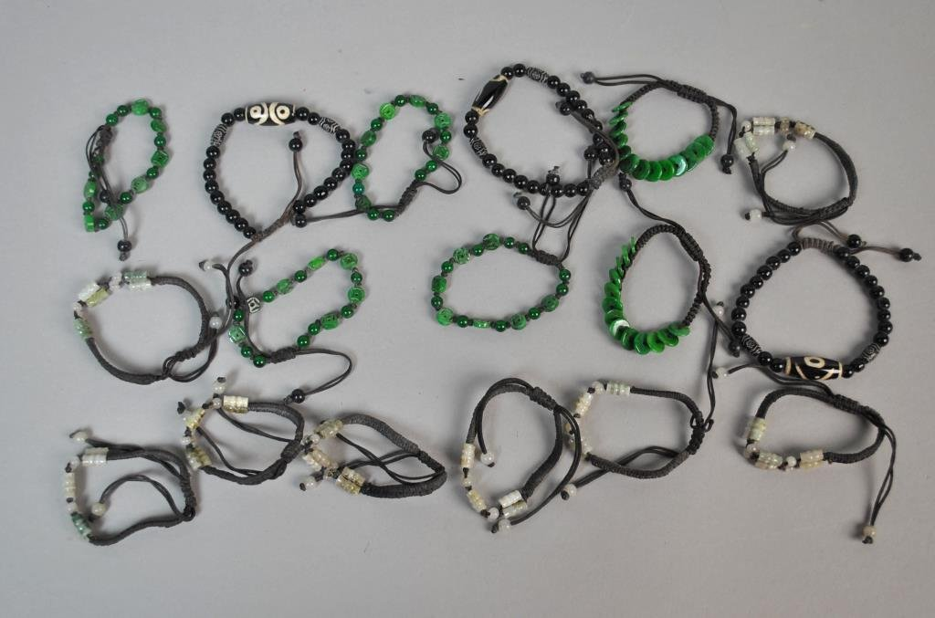 (17) CONTEMPORARY CHINESE CORDED BEAD BRACELETS