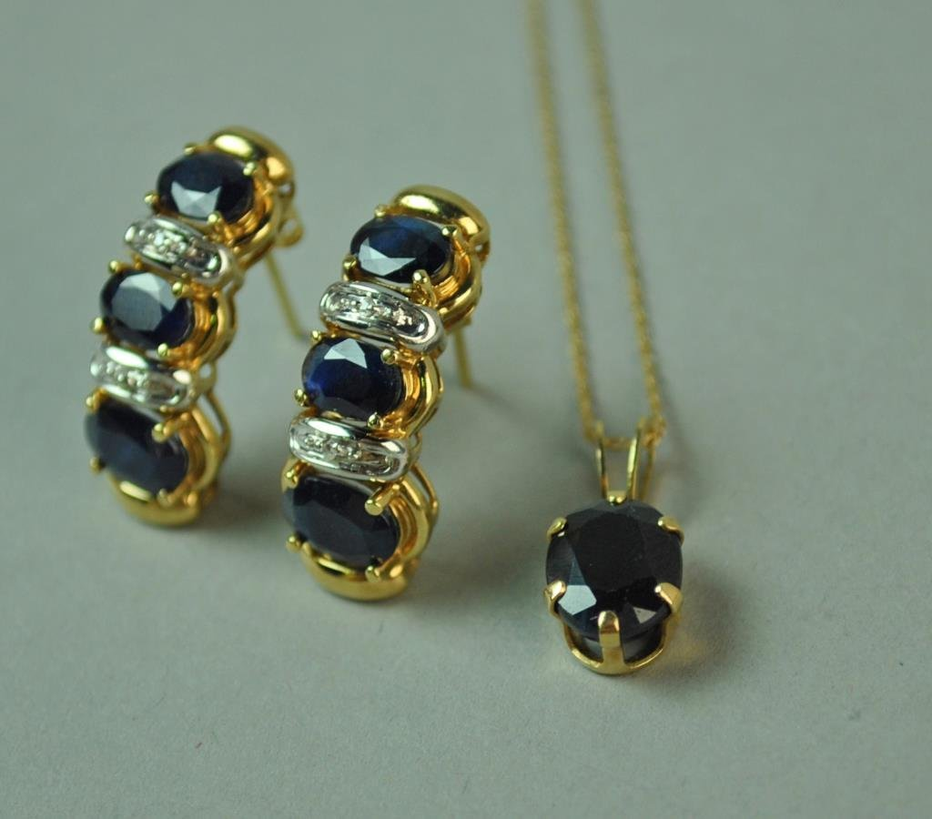 10K SAPPHIRE EARRINGS AND A BLUE STONE PENDANT
