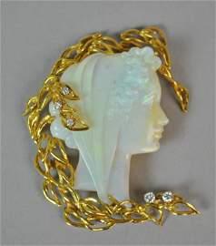 LARGE CARVED OPAL & DIAMOND PORTRAIT PIN