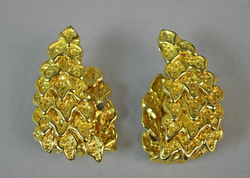 18K GOLD NUGGET LINK EARRINGS