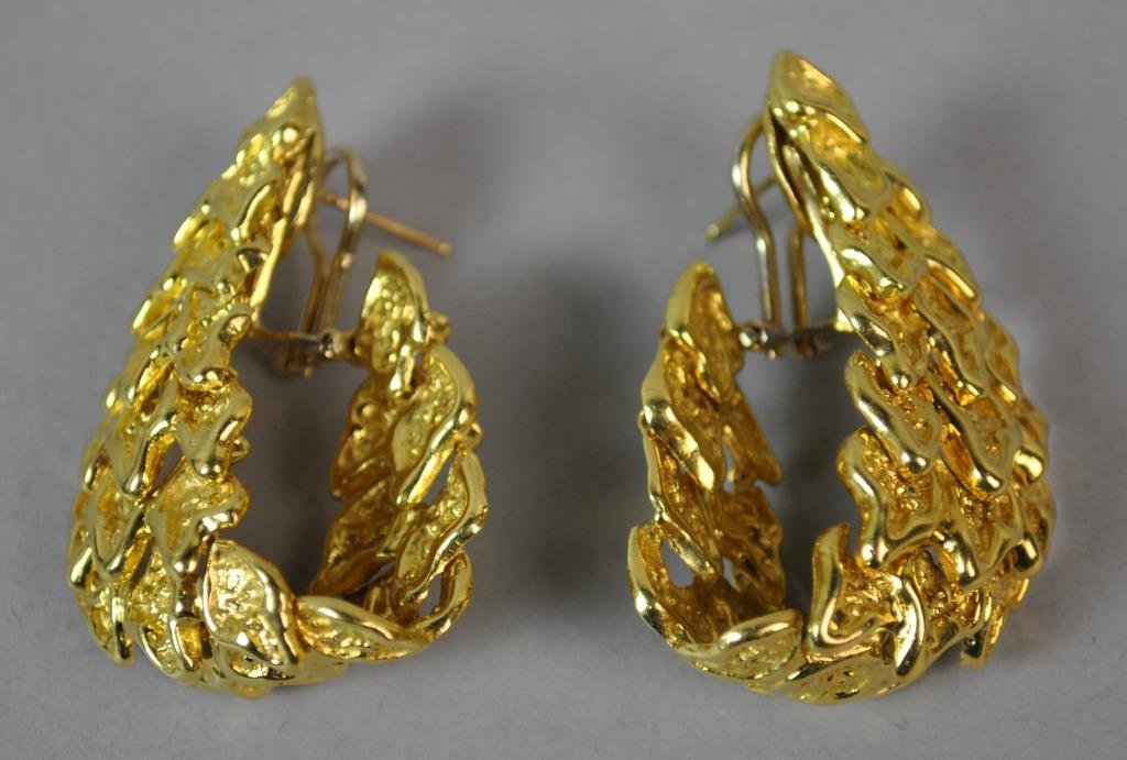 18K GOLD NUGGET LINK EARRINGS - 2