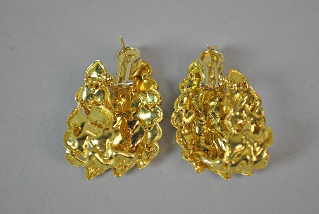 18K GOLD NUGGET LINK EARRINGS - 3