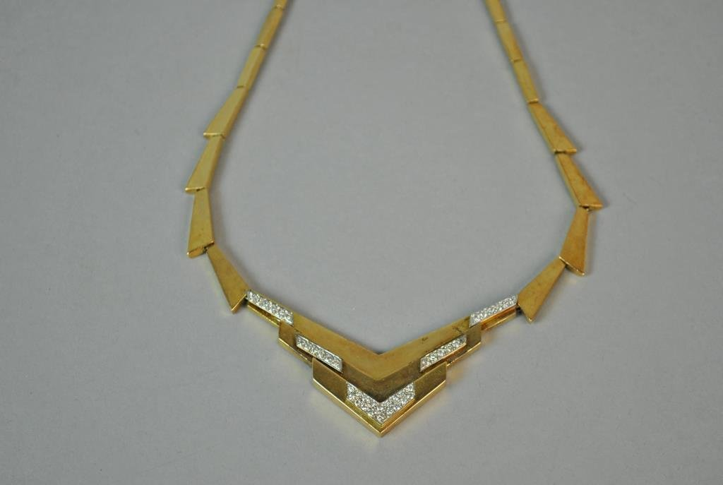 GOLD & DIAMOND DECO STYLE CHEVRON NECKLACE