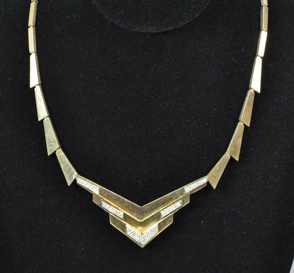 GOLD & DIAMOND DECO STYLE CHEVRON NECKLACE - 2