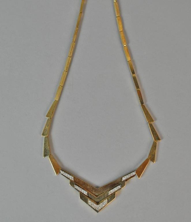 GOLD & DIAMOND DECO STYLE CHEVRON NECKLACE - 3