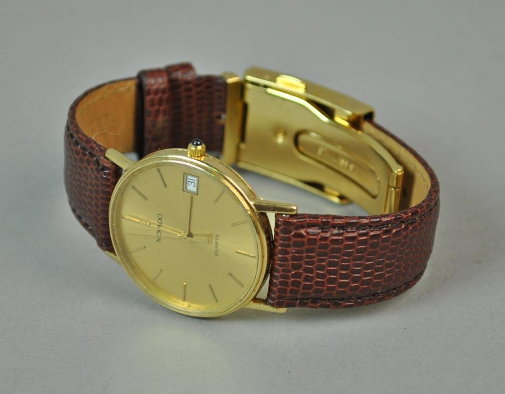 GENTS MOVADO GOLD CASE WATCH - 2