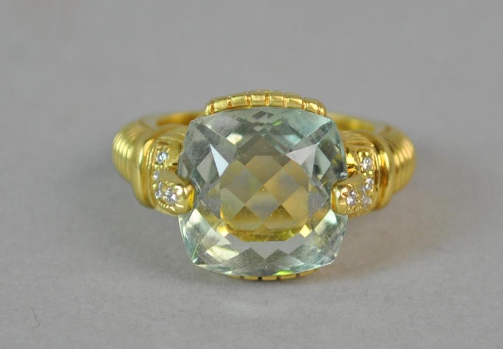 18K BLUE QUARTZ & DIAMOND RING - 2