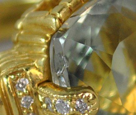 18K BLUE QUARTZ & DIAMOND RING - 3