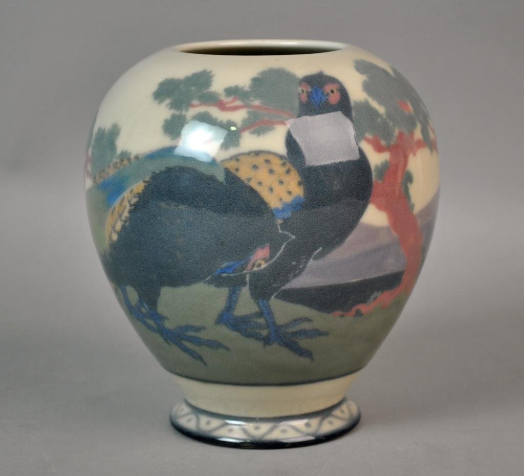 ROOKWOOD BIRD & LANDSCAPE ART POTTERY VASE
