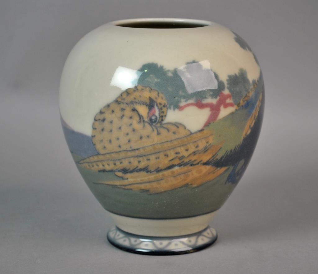 ROOKWOOD BIRD & LANDSCAPE ART POTTERY VASE - 2