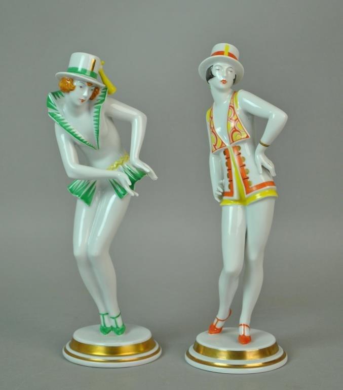 (2) ROSENTHAL ART DECO DANCING LADIES FIGURES