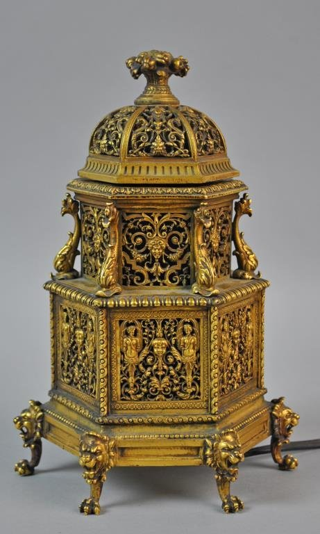 GILT BRONZE BOUDOIR SCENT LAMP BY EF CALDWELL