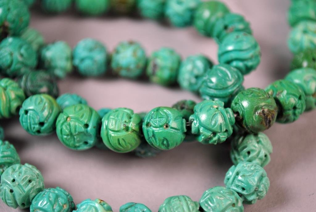 (120) CHINESE CARVED TURQUOISE DRAGON BALL BEADS