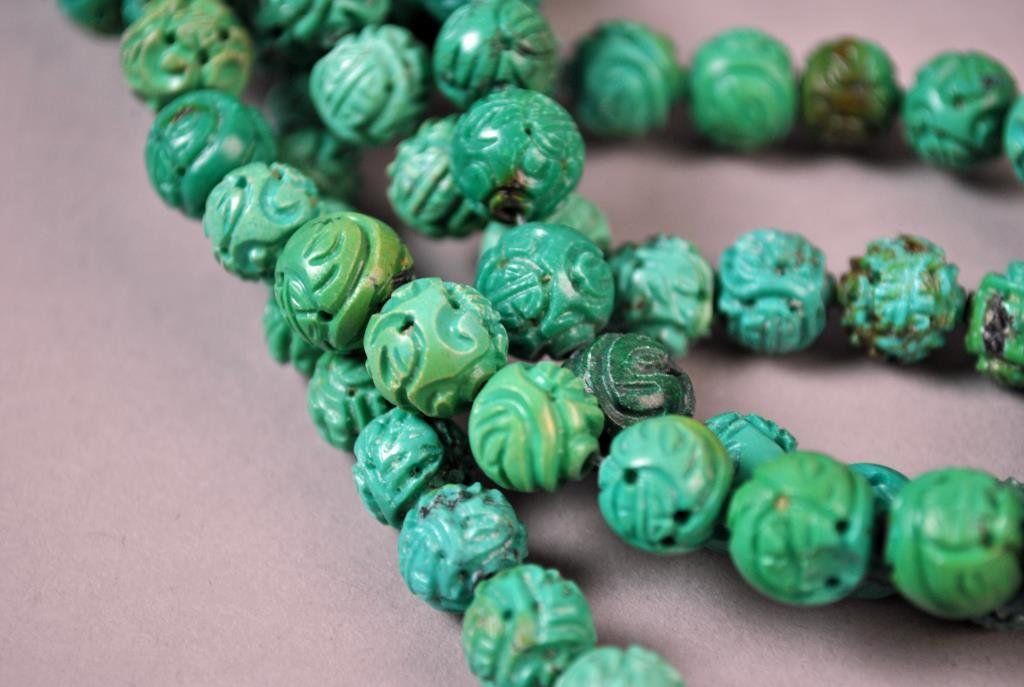(120) CHINESE CARVED TURQUOISE DRAGON BALL BEADS - 3