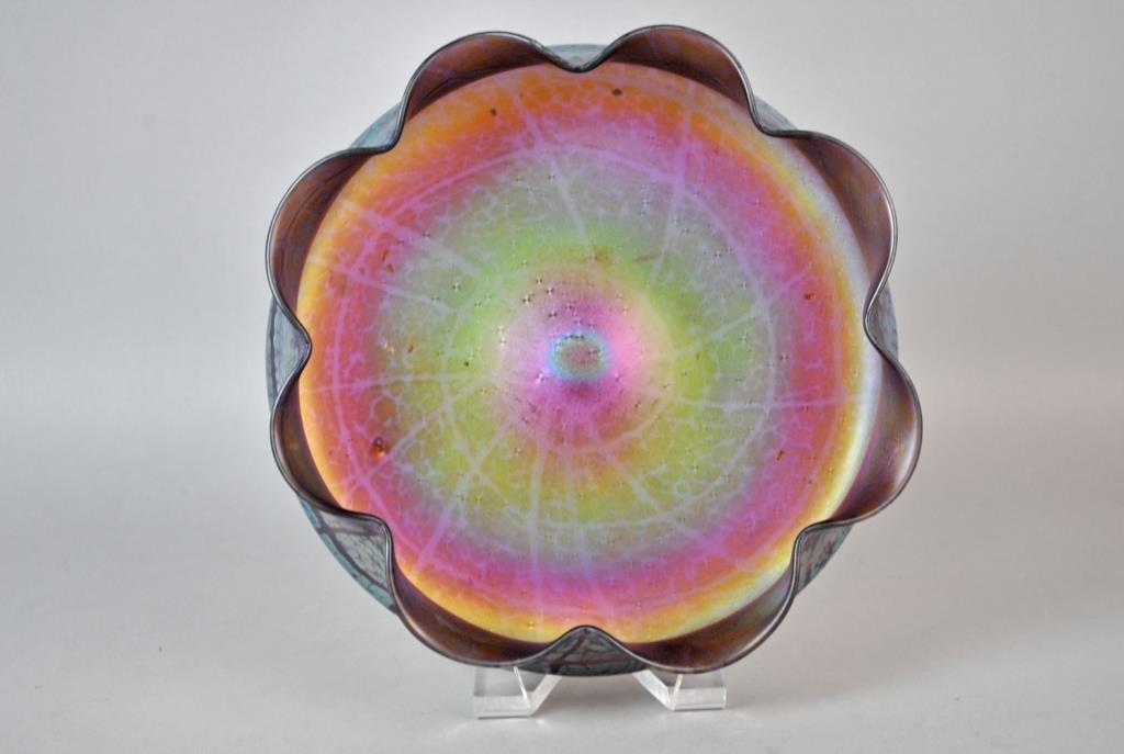 LOETZ ART GLASS IRIDESCENT AMETHYST BOWL - 2