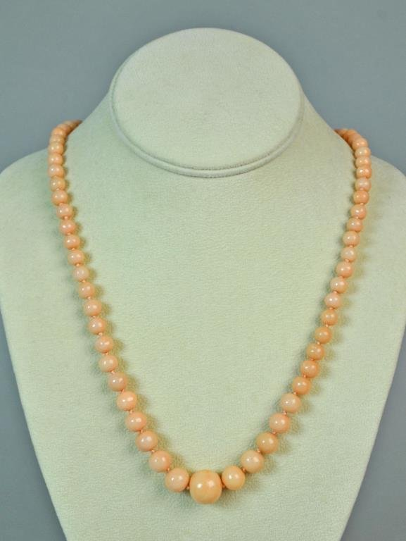 14K PINK CORAL BEAD NECKLACE