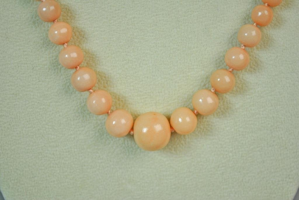 14K PINK CORAL BEAD NECKLACE - 2
