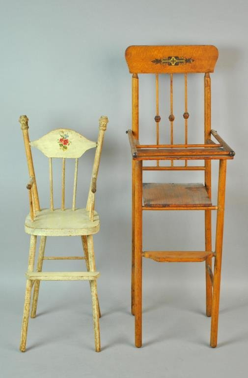 (2) WOODEN DOLL HIGH CHAIRS