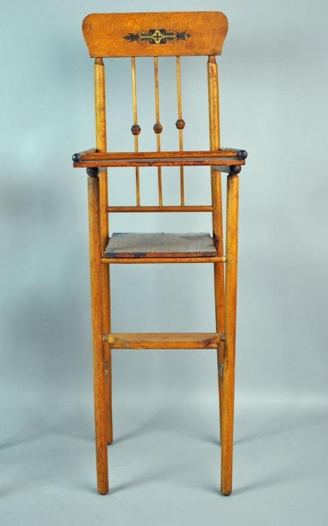 (2) WOODEN DOLL HIGH CHAIRS - 3
