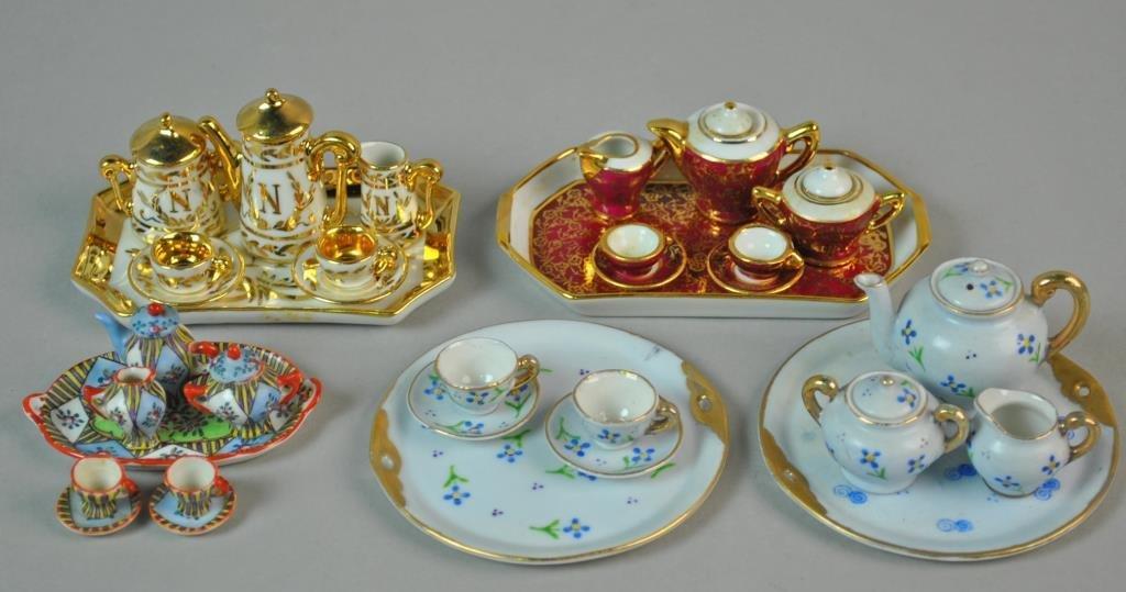 (4) MINIATURE DOLLHOUSE PORCELAIN TEA SETS