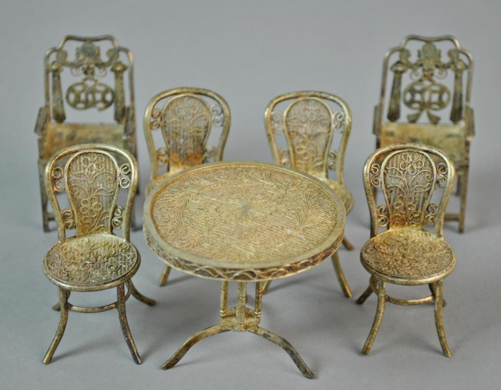 (7) PIECE CHINESE SILVER MINIATURE FURNITURE GROUP