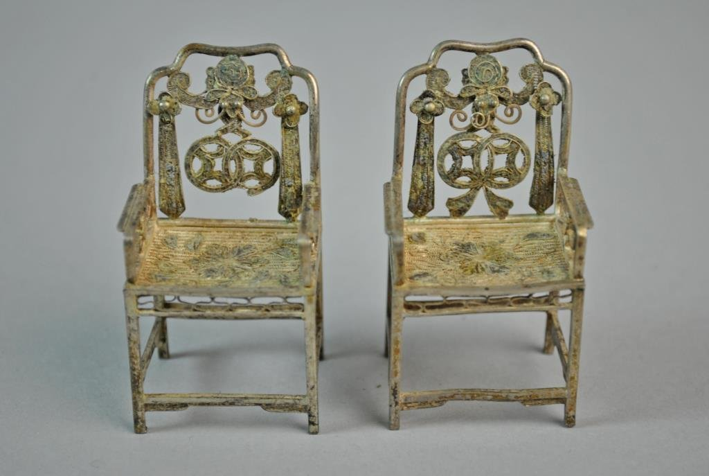 (7) PIECE CHINESE SILVER MINIATURE FURNITURE GROUP - 3