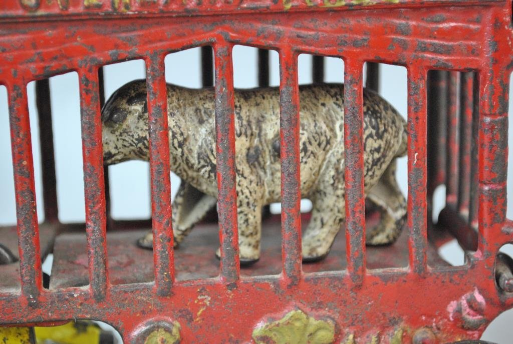 KENTON CAST IRON OVERLAND CIRCUS CAGED BEAR WAGON - 3
