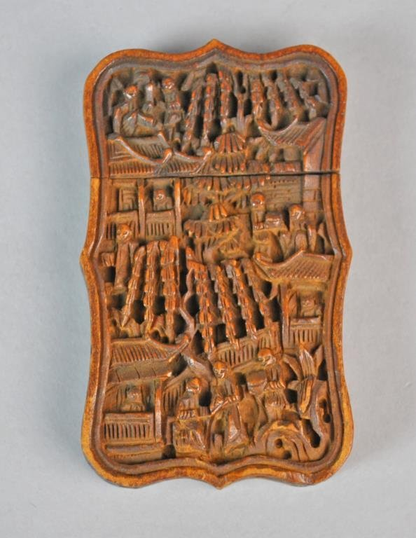 CHINESE CARVED WOOD CARD CASE
