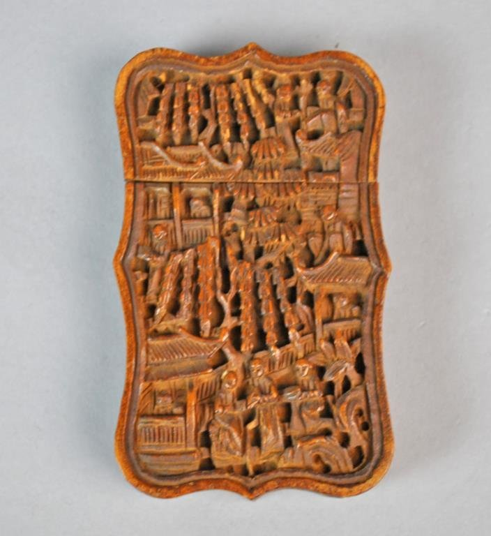 CHINESE CARVED WOOD CARD CASE - 2