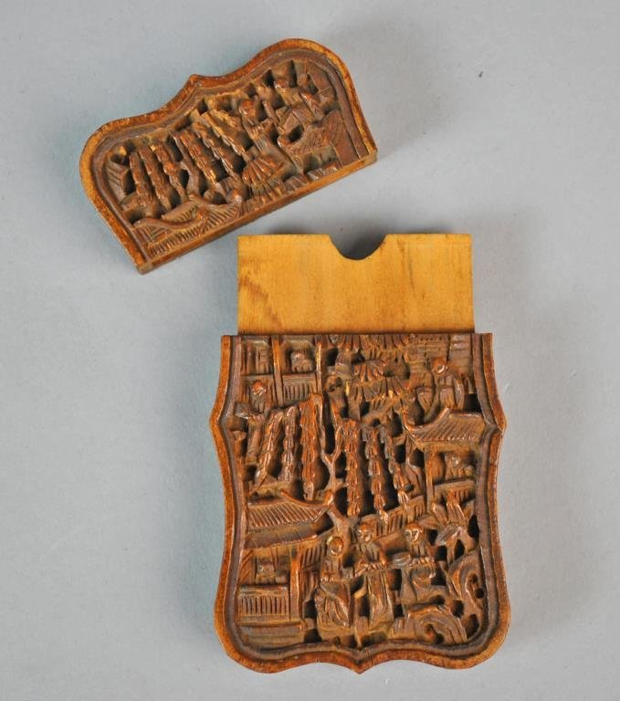 CHINESE CARVED WOOD CARD CASE - 3