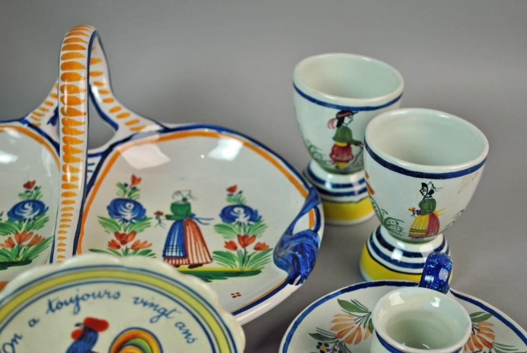 (11) PIECE QUIMPER FRENCH POTTERY GROUP - 3