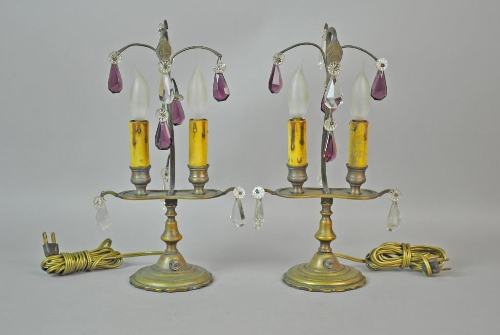 PAIR BRASS & CRYSTAL BOUDOIR LAMPS