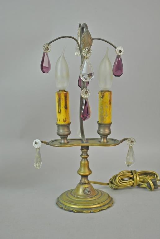 PAIR BRASS & CRYSTAL BOUDOIR LAMPS - 2