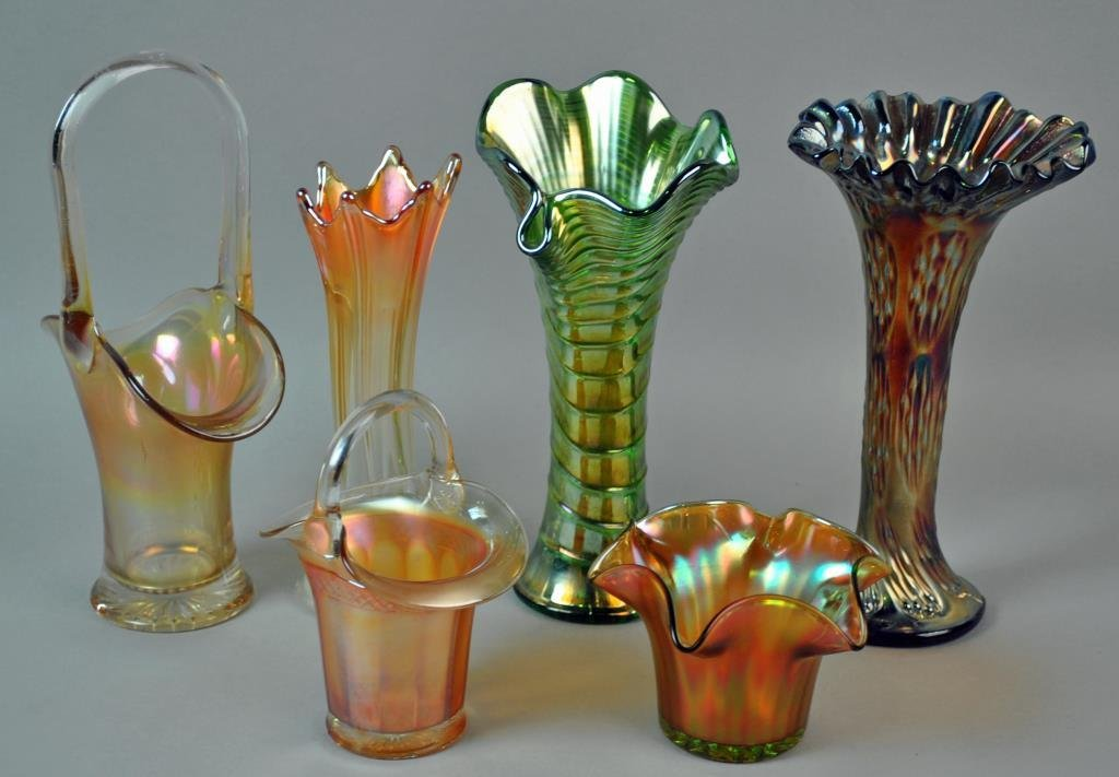 (6) PIECE CARNIVAL GLASS GROUP