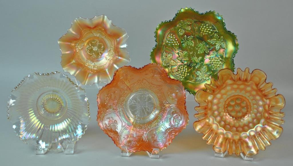 (5) PIECE CARNIVAL GLASS GROUP