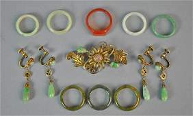 (11) PIECE CHINESE JADE & SILVER JEWELRY GROUP