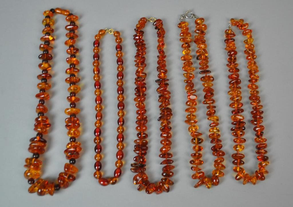 (5) AMBER BEADED NECKLACES