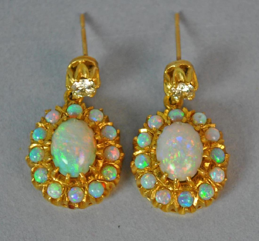 PAIR OPAL & DIAMOND EARRINGS