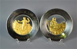 (2) FRANKLIN MINT STERLING & GOLD PLATED PLATES