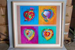Peter Max. Acrylic On Serigraph. Heart #2. Signed Upper