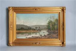 William Guy Wall. Rowers on a Lake. Signed W.G. Wall ,