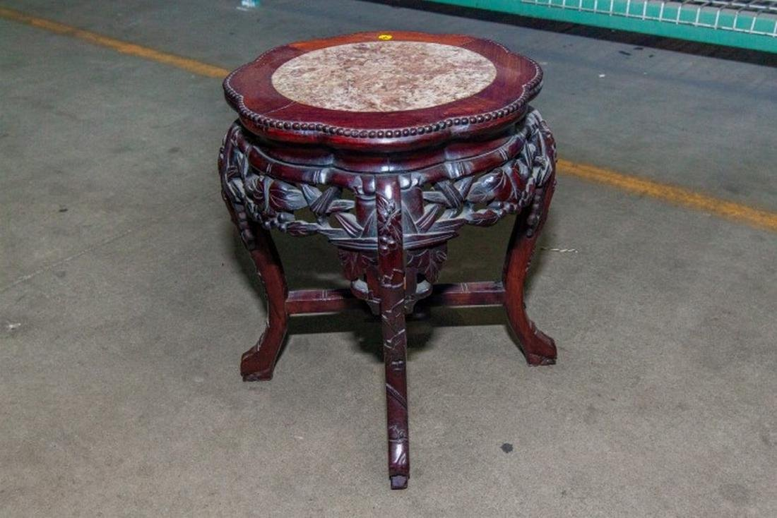 Carved Teakwood Side Table in Chinese Style with Inset