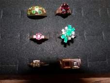Lot of 6 Rings: 14 K Emerald/ Diamomd Ring, .30D, 1.00