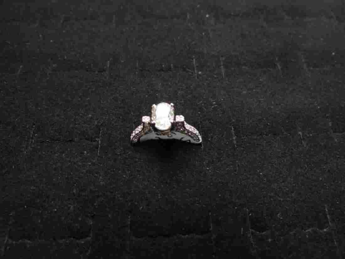 14 K White Gold Oval Shape Diamond Ring, 1.25 cts Oval