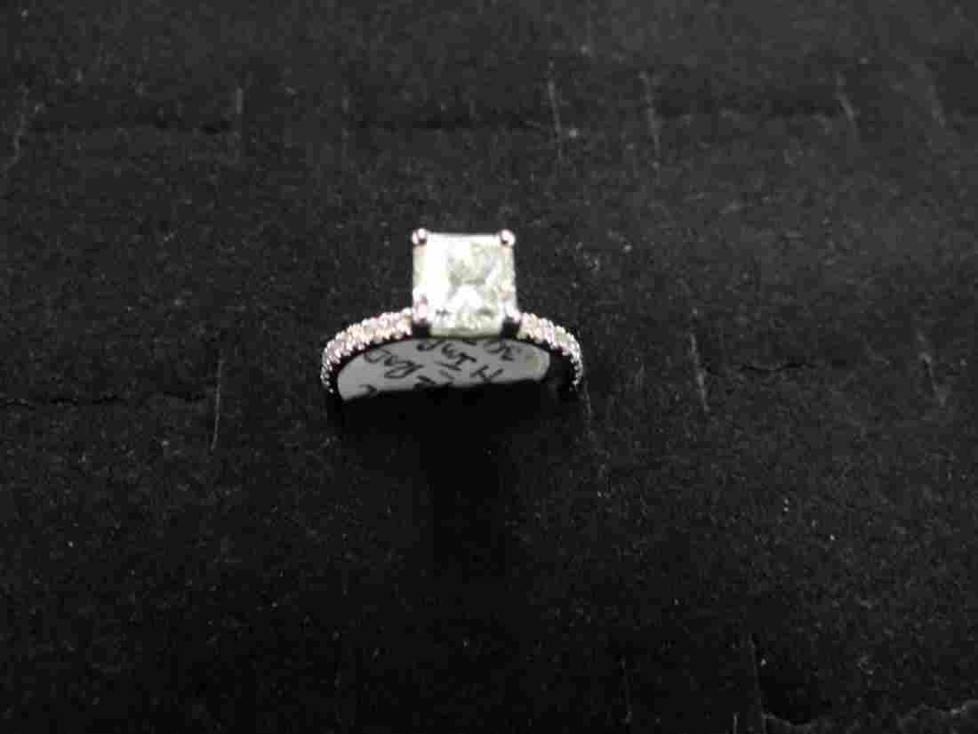 14 K White Gold Radiant Shape Diamond Ring, 1.42 cts