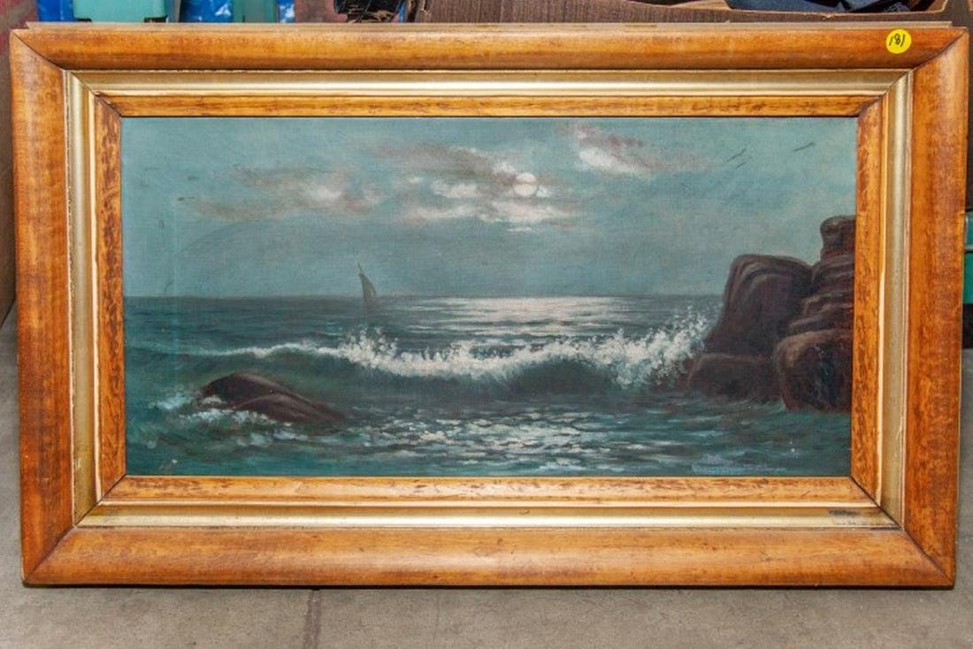 Late 19th c. Oil on canvas. Seascape. Unsigned,