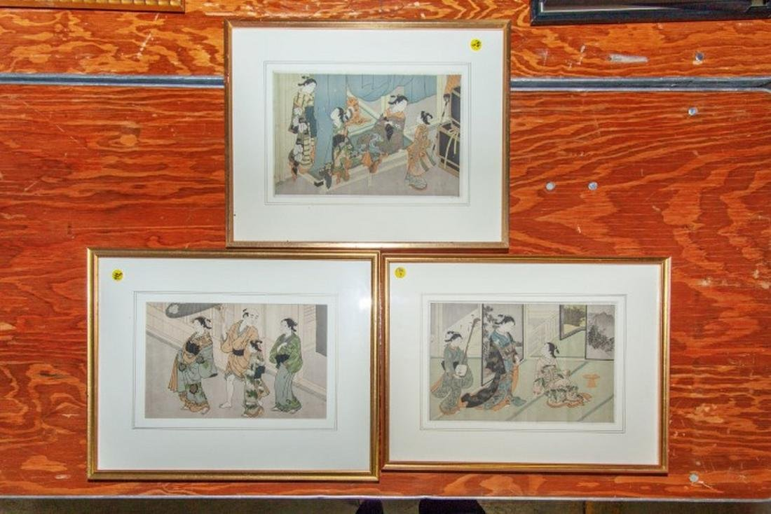 Lot of 3 Japanese Woodblock Prints