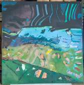 Syd Solomon. Oil on Canvas. Abstract Landscape. 6' x 6'